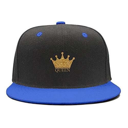 King and Queen Couple Winter Flat-Along Strapback Hat Blue by XCVJOIWERNM