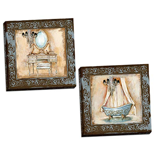 Elegant Brown and Blue Clawfoot Tub and Vanity Set; Bathroom Decor; Two 12x12in Hand-Stretched Canvases