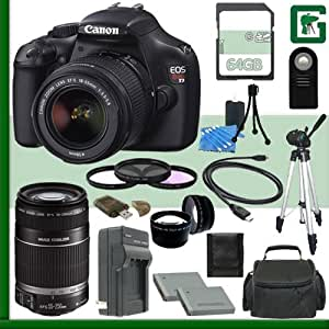 Canon EOS Rebel T3 Digital SLR Camera Kit with 18-55mm IS II Lens and Canon 55-250mm Lens + 64GB Green's Camera Package 1