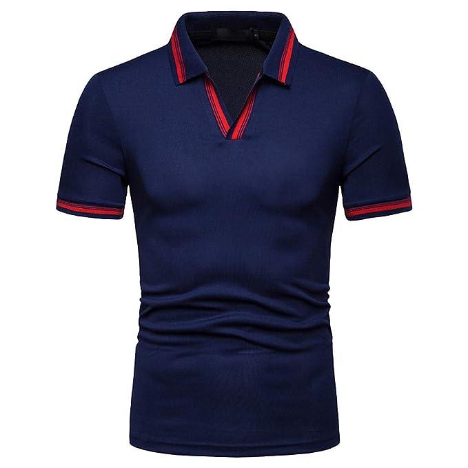 Camisa Polo, YpingLonk Camisetas Manga Corta para Hombre Sencillo Mangas de Trabajo Europa y America Style Casual T-Shirt Cuello de Pie Estilo Business: ...