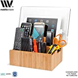 MobileVision Bamboo Storage Multi Device Organizer charging Dock, Extension Compartments for Smartphones, Tablets and Laptops