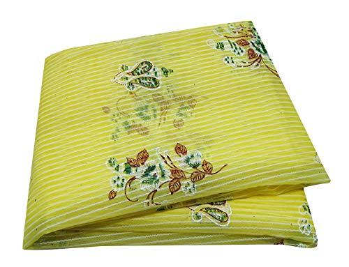 Peegli Indian Vintage Sari Ethnic Women Wrap Floral Design Crepe Silk Fashionable Dress Yellow DIY Craft Fabric Saree ()