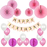 SIMPZIA Pink Paper Fan Party Decorations Supplies with Happy Birthday Banner & Balloons for girls Baby Shower 1st Birthday Birthday Party Decoration