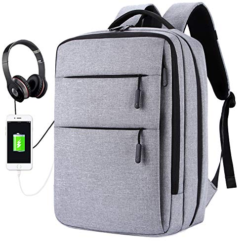 15.6 Inch Laptop Backpack Business Travel and College School Students Bag for Men Women - Anti-Heft Pockets External USB Charging Port and Headphone Jack Design - Durable and Water Resistant-Grey