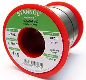 Stannol 580033 - Estaño para soldar (HF34, 1 Kg, 1,0 mm de alambre, L= S-Sn60Pb40)