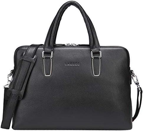 Banuce Black Soft Genuine Leather Briefcase for Women Men 14 Laptop Bag Attache Case Business Bags Satchel Handbags Tote Purse Shoulder Messenger Bag Black