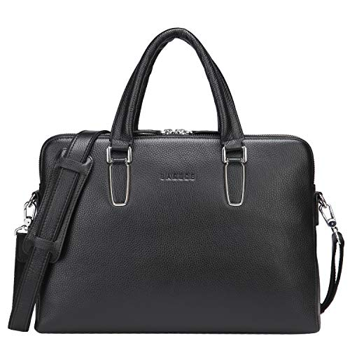 Banuce Black Soft Genuine Leather Briefcase for Women Men 14