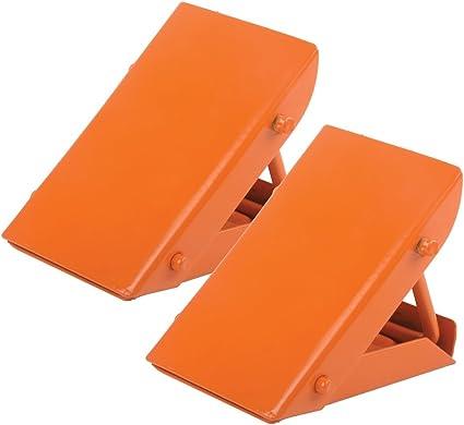 Collapsable Wheel Chocks Reversing Slip Pads Stoppers-Orange For Smart
