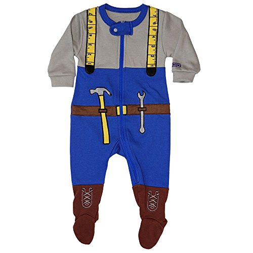 Sozo Baby Boys Mr Fixit Footie, Blue, 6-9 Months