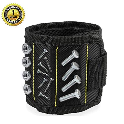 Magnetic Wristband, Adjustable Super Magnetic Wrist Band for Holding Screws,Nails,Drill Bits Holding Tools,Bolts and Other Small Metal Tools.Unique Tool Gift for DIY By TAOSANHU Black Wristband