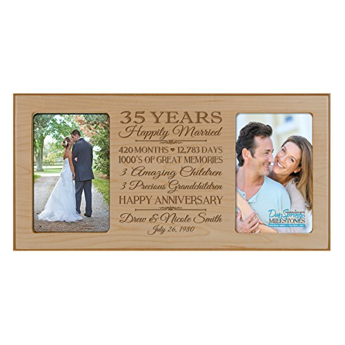 Personalized 35 year anniversary gift her him couple Custom Engraved wedding celebration for Husband wife girlfriend boyfriend photo frame holds two 4x6 photos by DaySpring International (Maple)