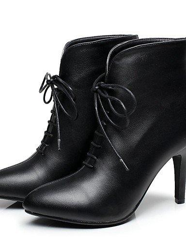 Red Rojo Botas Stiletto Tacón Uk4 La Moda us8 Negro Black Cn36 Zapatos Eu36 Casual Vestido Mujer Puntiagudos A us6 De Eu39 Cn39 Semicuero Xzz Uk6 Y6Zxgnx