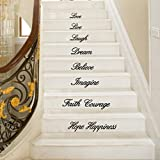 Letters Wall Sticker, Staron Live Laugh Love Dream Believe Imagine Faith Courage Hope Happiness Decal Removable Wall Stickers Stair Decor (Black❤️) For Sale