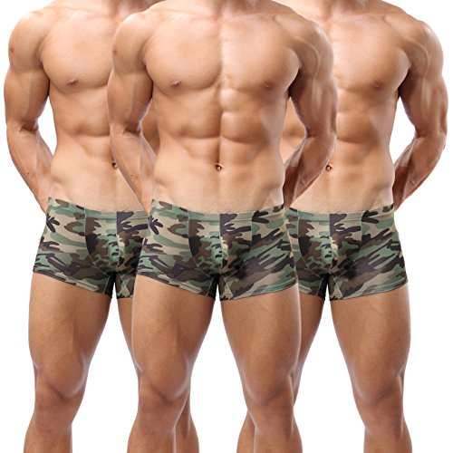 Forest Men's Underwear,Sexy Camouflage Military Low Rise U Pouch Underwear Boxer Brief (3 Pack Camouflage, US L/Tag XXL/Fit:35