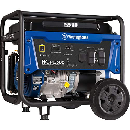 Westinghouse WGen5500 Portable Generator - 5500 Rated Watts & 6850 Peak Watts - Gas Powered - CARB Compliant - Transfer Switch Ready Westinghouse