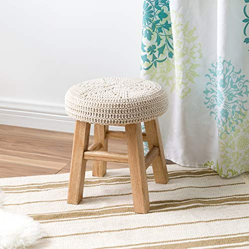 (Mkono Small Upholstered Wood Foot Stool for Kids Decorative Stepstool Chair with Round Macrame Cover Cushion Vintage Home Decor, Four Legged)