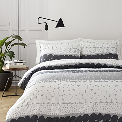 - Marimekko 221446 Jurmo Duvet Cover Set, Full/Queen, Grey / White