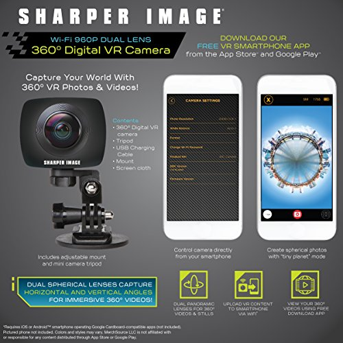 SHARPER IMAGE 360 Action Camera w/Wide Dual Lens, Record 960P Video