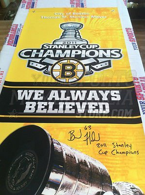 Brad Marchand Boston Bruins signed Stanley Cup parade street banner Champions