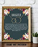 """teenage girl room ideas """"To My Wonderful Daughter"""" 8 x 10"""" Art Image- Very Proud of Who You Have Become! Wall Art Ready to Frame. Heartfelt & Inspirational - Lifetime Keepsake Gift for Any Daughter On Special Occasions."""