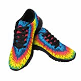 InterestPrint Women's Go Easy Walking Comfort Sports Athletic Shoes Heart, Love, Rainbow Tie Dye Background US 7 For Sale