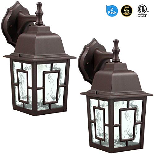 LED Wall Lantern, Wall Sconce as Porch Light, 14W (100-150W Equivalent), 1500 Lumen, Aluminum Housing Plus Glass, Matte Finish, Outdoor Rated,UL Include (A21 14W),Brown for 2Pack 9031