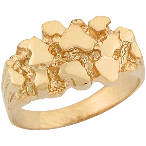 Ladies Gold Nugget Ring (14k Yellow Gold Unique Designer Womens Nugget Band Ring)
