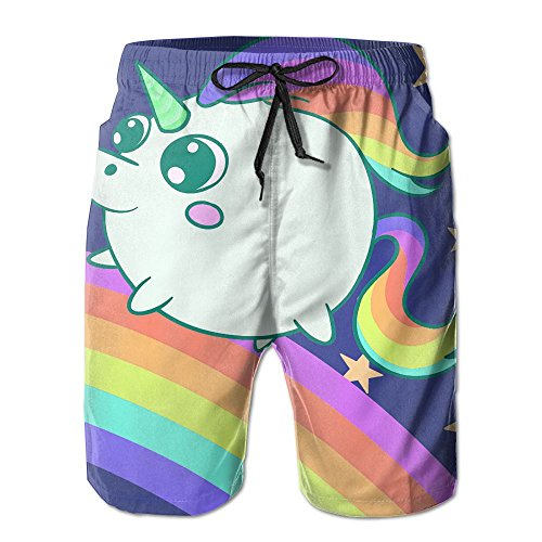 Fatty Cute Unicorn Pig Boy's Beach Pants Swimming Trousers Leisure Shorts Breathable Beach Pants -
