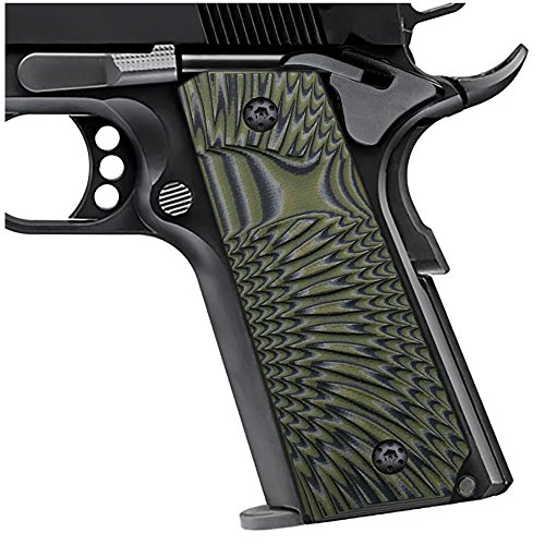 "Cool Hand 1911 Full Size G10 Slim Grips, 3/16"" Thin, Big Scoop, Ambi Safety Cut, Sunburst Texture, Brand, OD Green/Black, HH1S-J6S-21"