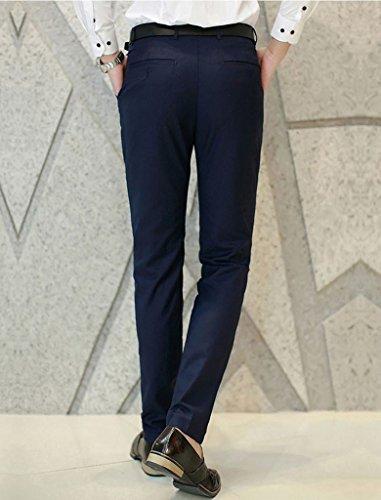 MOGU Mens Slim Fit Flat Front Pant US Size 28(Tag Asian Size S) Navy Blue