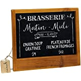 french country brown wood framed wall mounted chalkboard blackboard sign with hanging eraser