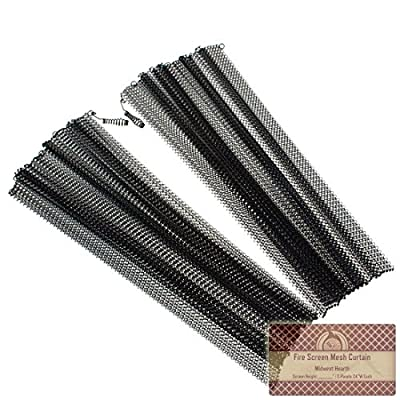 "Midwest Hearth Fireplace Screen Mesh Curtain. 2 Panels Each 24"" Wide. Includes Screen Pulls. Made in USA"