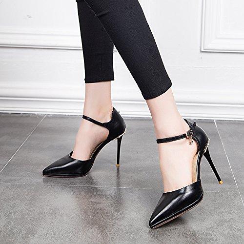 Noir GTVERNH-7Cm Des Chaussures à Talons Hauts Très étanches Au Summer Perceuse Plate - Forme Boucles Creux Baotou Sandales. Thirty-nine