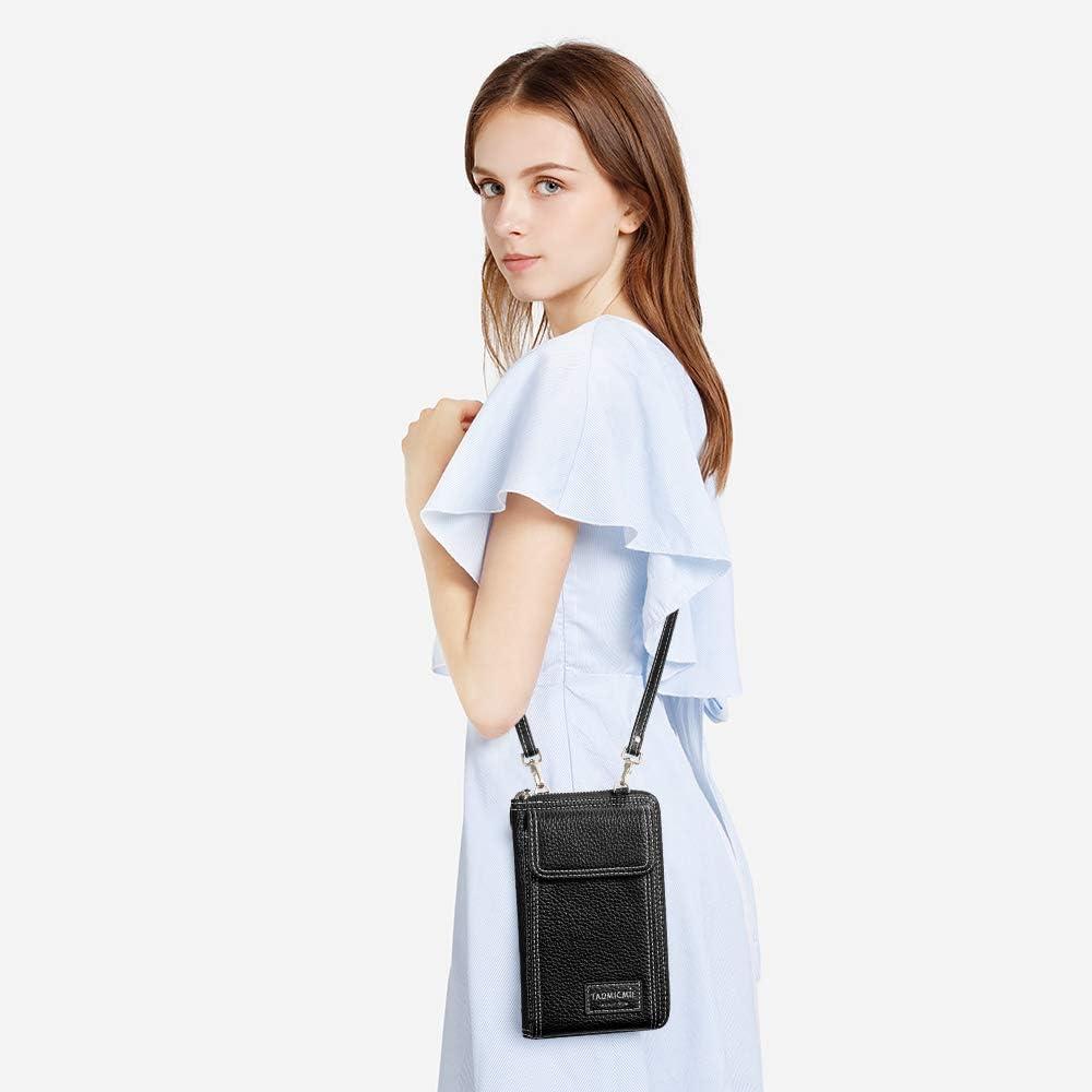 S-ZONE Petit sac /à bandouli/ère en cuir PU pour t/él/éphone portable avec longue bandouli/ère