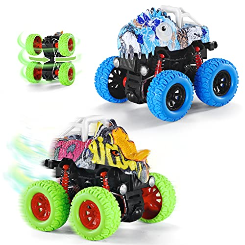 Muehieu Dinosaur Monster Trucks for Boys, 2 Pack Friction Powered Toys Cars Push and Go Vehicle Toys Sets Gift for Kids Toddler 2 3 4 5 6 Years Old