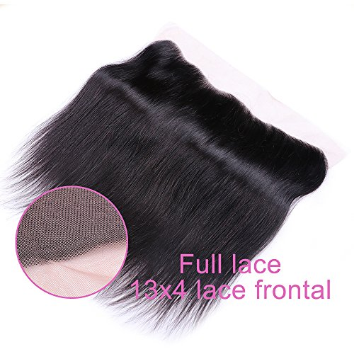 Sterly Brazilian Straight Hair 3 Bundles With Frontal Closure 13x4 Ear To Ear Lace Frontal With Bundles Unprocessed Virgin Human Hair Extensions Natural Color (18 20 22 +16) by Sterly (Image #4)
