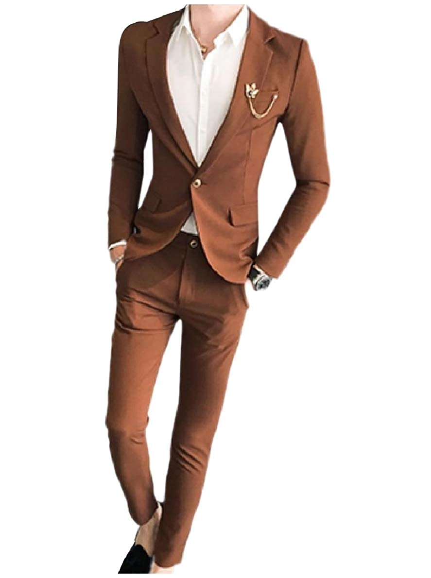 Coffee Winme Men Solid color One Button Formal 2-Piece Suits Blazer & Trousers