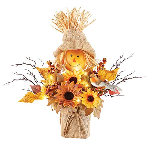 Cute Lighted LED Scarecrow and Sunflowers Harvest Centerpiece Arrangement - Perfect Thanksgiving Tabletop Decoration