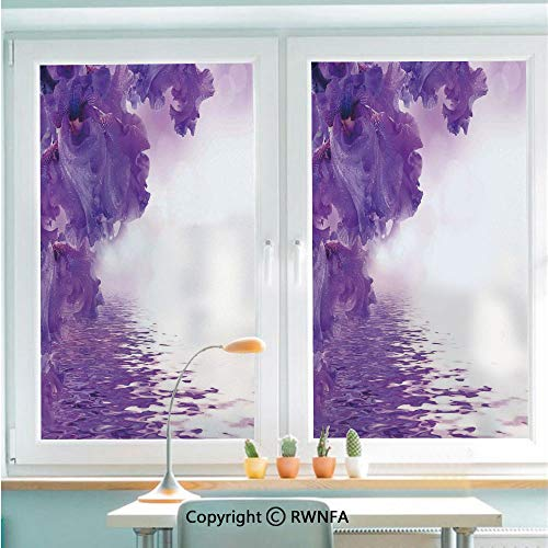 Non-Adhesive Privacy Window Film Door Sticker Iris Flowers Petals Against The Water River Mystical Magical Fairy Nature Image Glass Film 22.8 in by 35.4in(58cm by 90cm),Violet White