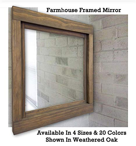 Farmhouse Large Framed Mirror Available in 5 Sizes and 20 Colors: Shown in Weathered Oak - Rustic Home Decor - Vanity Mirror - Wall Mirror Decorative - 22x24-24x30-36x30-42x30-60x30