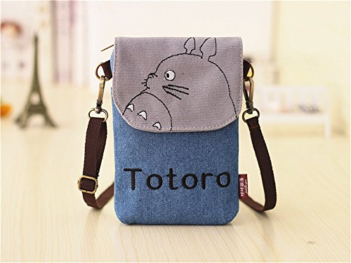 Abaddon Vintage Printed Handmade Women Mini Crossbody Bag Cellphone Pouch Small Handbag Coin Purse (blue totoro) by Abaddon (Image #1)'