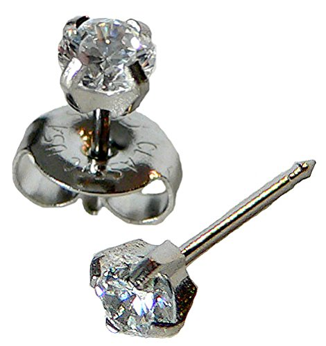 Silver Ear Piercing Earrings 4mm Clear Round Cubic Zirconia CZ Studex System 75 by Studex (Image #5)