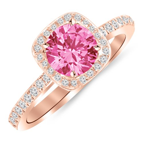 1 Carat 14K Rose Gold Classic Halo Style Cushion Shape Diamond Engagement Ring with a 0.75 Carat Natural Pink Sapphire Center (Heirloom Quality) (Rose Gold And Pink Sapphire Ring)