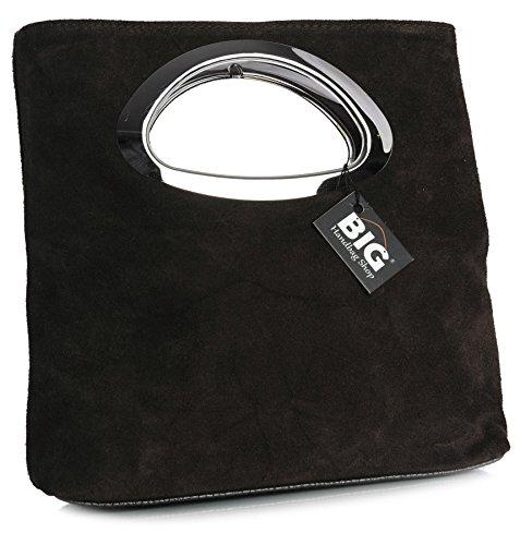 BHBS Bolso de Noche para Dama en Cuero Gamuzado con Asa Superior en Metal 15x25x7 cm (LxAxP) - Coffee (BH351)