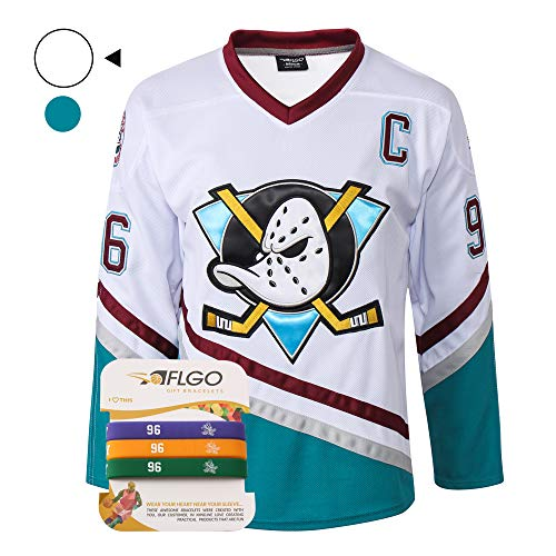 Mighty Ducks Halloween Costume (AFLGO Conway #96 Mighty Ducks Ice Hockey Jersey S-XXXL, Charlie Stitched Clothing Throwback, Top Bonus Combo Set with Wristbands (White,)