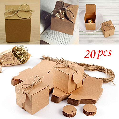 Paper Treat Boxes - 20pcs Mini Favor Box Party Favor Candy Box - Iuhan Vintage Kraft Paper with Tags and Burlap Twine for Wedding/Travel Themed Party/Bridal Shower Decoration (Brown)