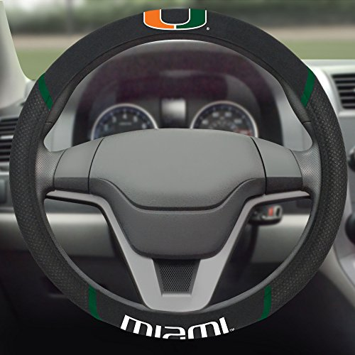 FANMATS NCAA University of Miami Hurricanes Polyester Steering Wheel Cover (Steering Hurricanes Wheel Cover)