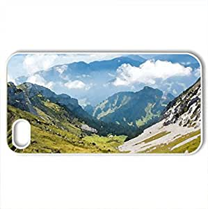 Beautiful Mountains - Case Cover for iPhone 4 and 4s (Mountains Series, Watercolor style, White)