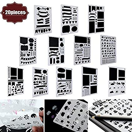 Amazon Com Buluri 20 Pack Bullet Journal Stencil Diy Drawing