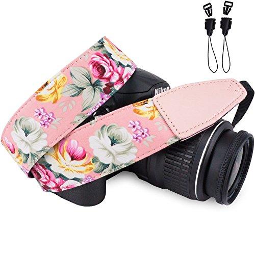 Wolven Pattern Cotton Camera Neck Shoulder Strap Belt Compatible for DSLR/SLR/Men/Women etc, Pink Flower